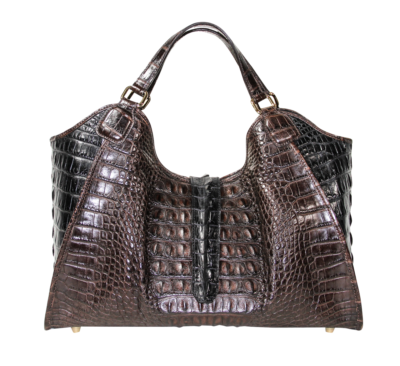 Colette 14 Dark Brown Black Alligator Hornback